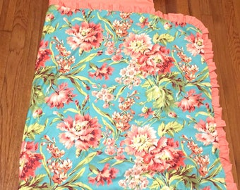 Ships Fast- Nap Mat Cover- Personalized Bliss Floral Nap Mat with Ruffled Blanket