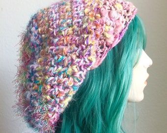 Dreadlock Hat - extra slouchy, handspun wool with sparkle, pinks and pastels - one of a kind!