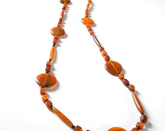Vintage Amber Disk Bead Necklace • Long Strand Single Strand Necklace