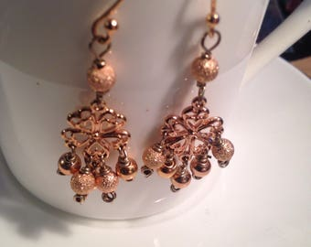 Handmade Solid Copper Chandelier Earrings