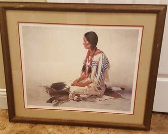 Waiting for Her Warrior by David Wright Framed Print 1986, signed and numbered, limited edition 446/1200 ~ RARE