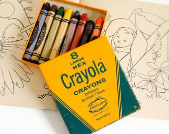 Vintage Crayola HTF #38 Large Hex Crayons Eight Count in Original Box Partially Used / Nostalgic Collectible Toy