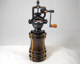 Pepper Mill Antique Style Handmade Black Walnut and Laminated Birch Wood Cooper Mechasim