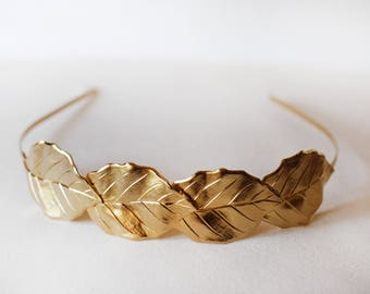 Four Leaves Crown, Gold Leaf Headband, Goddess Wreath,  Gold Leaves Tiara, One of a Kind Crown, Bridal Hair Accessories, Bohemian Headpiece