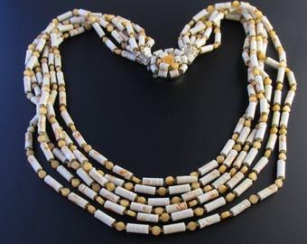 Tan Bead Necklace, Torsade Necklace, Multi Strand Necklace, Neutral Necklace, White Bead Necklace, Ceramic Bead Necklace, Layered Necklace