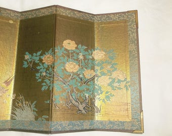Vintage miniature Asian Folding Screen with silk border • 7 1/4 inches tall