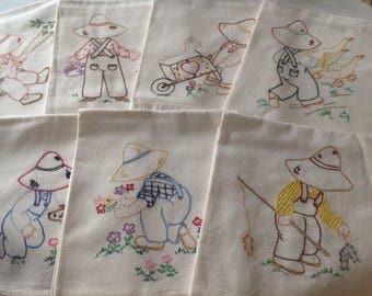Vintage Flour Sack Tea Towels ~ Embroidered Tea Towels ~ Set Of Seven Kitchen Towels ~ Old Fashioned Kitchen Decor ~ Farmhouse Decor ~ Old