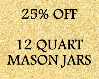 25% Discount for 12 Glittered Quart Mason Jars, Choose Glitter Color, Wedding Decoration, Baby Shower, Home or Office Decor