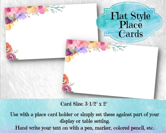 10 Flat Style Place Cards, Name Cards, Buffet Table Food Labeling ...