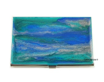 Business Card Case Hand Painted Glossy Enamel Cobalt Teal and Silver Wave Inspired with Color and Personalized Options