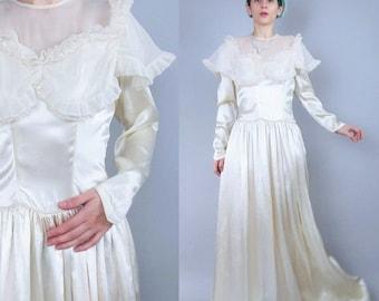 25% off Summer SALE Vintage 1940s Wedding Dress Vintage Long Sleeve Wedding Gown Cream Ivory Satin Wedding Dress Sheer Neckline Ruffle Floor