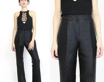 25% off Summer SALE 1990s Gianni Versace Couture Pants Black Silk Pants Womens Black Silk Trousers High Waist Pants Designer Straight Leg Dr
