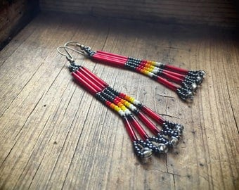 "Vintage 3"" long red bead earrings Native American style Southwestern jewelry shoulder duster"