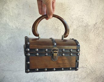 Vintage treasure chest wooden box purse with faux leather trim and brass studs pirate costume