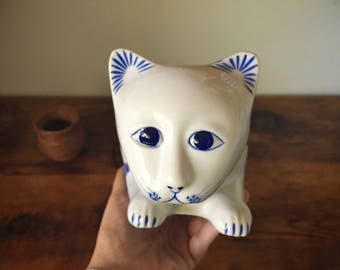 Vintage porcelain cat figurine collectible chinoiserie blue and white ceramic Siamese cat statue