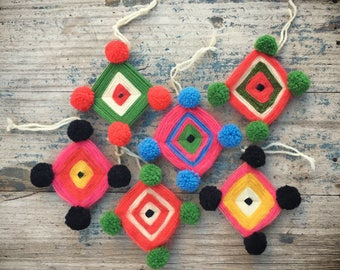"Vintage God's Eye ""Ojo de Dios"" Huichol style Christmas ornaments for tree"