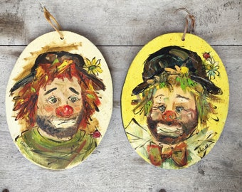Pair of Sad Clown paintings on wood by artist Chase clown collectible sad jester