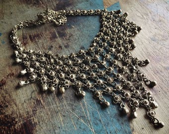 Vintage Tribal Silver Necklace Chainmail, Gypsy Jewelry, Bohemian Necklace, Goddess Jewelry