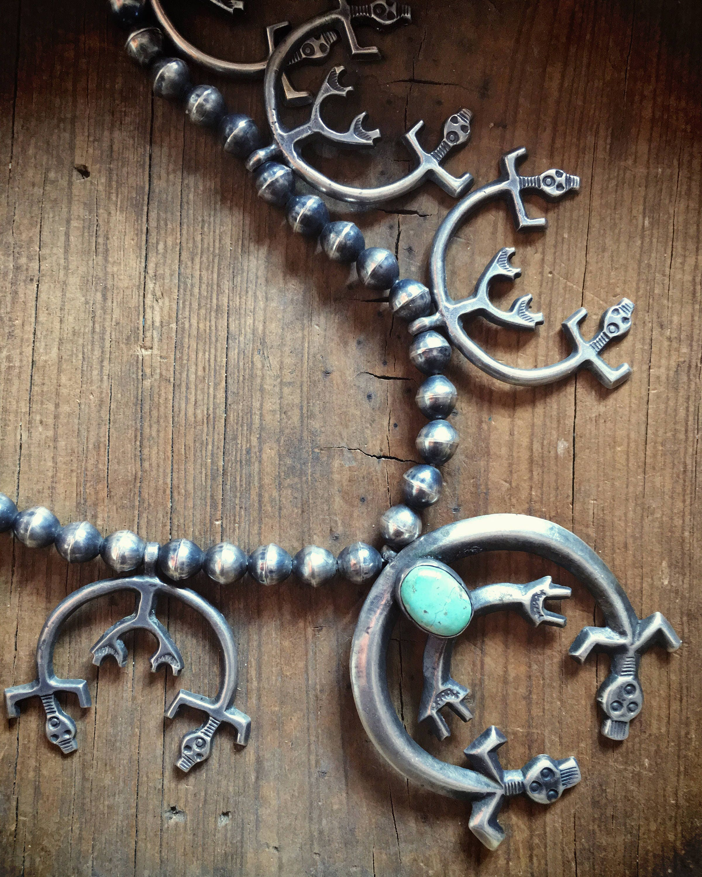 Vintage 102g Silver Turquoise Naja Squash Blossom Necklace