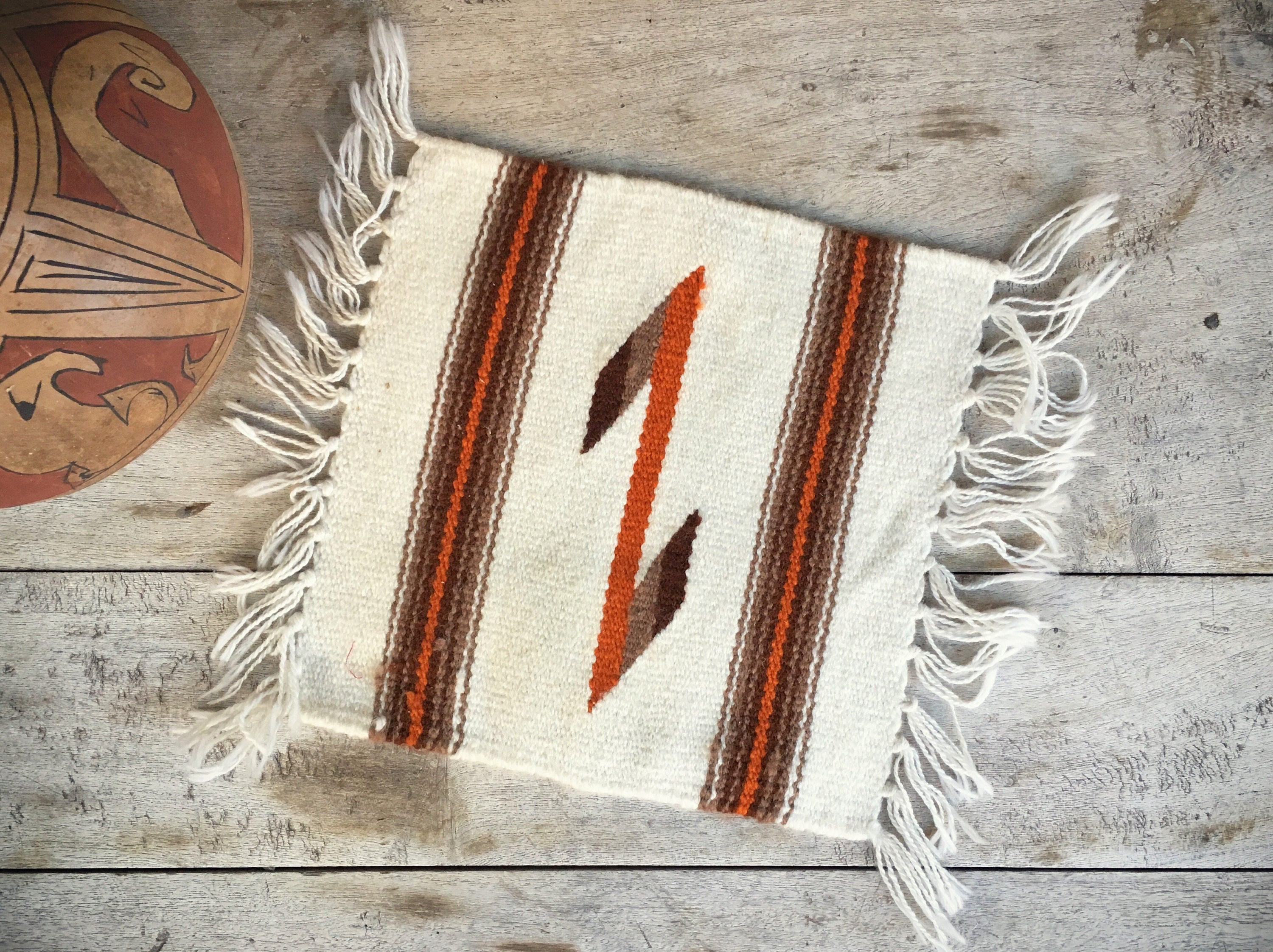 Vintage 10 X 10 Mexican Zapotec Miniature Rug Or Small