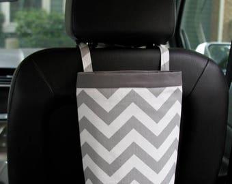 On Sale Car Trash Bag CHEVRON GRAY, Gifts for Women, Car Litter Bag, Car Accessories, Auto Bag, Car Organizer, Liners, Oilcloth, Headrest, G
