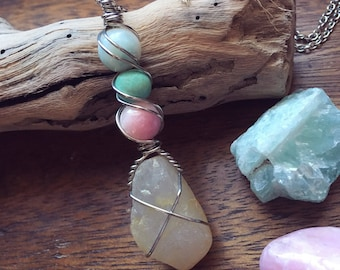 Beach Quartz Wire Wrapped Pendant Necklace