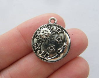 BULK 20 Moon sun stars charms antique silver tone M79