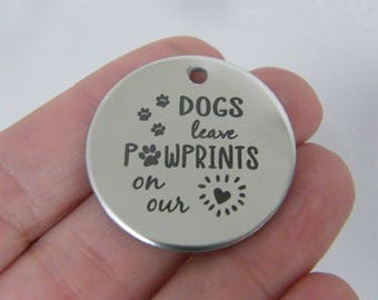 1 Dogs  pawprints on our heart stainless steel pendant JS1-24