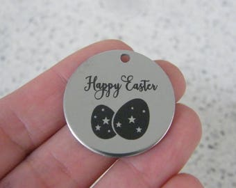 1 Happy Easter stainless steel pendant JS6-13