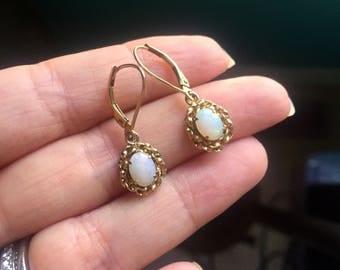 Opal Earrings - 10k Gold - Vintage