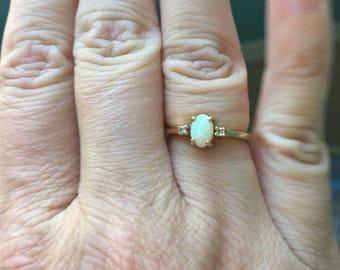 Opal Diamond Ring - 10k Gold - Vintage