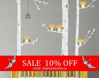 Summer Sale - Birch Tree Wall Decal, Birch Tree With Owls Wall Sticker Set, Birch Tree Decal, Baby Nursery Wall Stickers W1118
