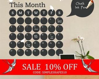 Summer Sale - Daily Dot Chalkboard Wall Calendar - Vinyl Wall Decal