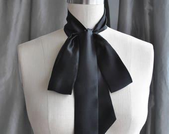 NEW  Black Silk Charmeuse Unique neck tie/Silk Tie Bow/Black bow tie/Bow scarf/Bow choker/Bow back/Neck wrap/Bow waist/Bow belt