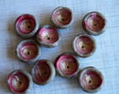 Handmade Beads - Polymer Clay beads - Pods - Pink and Grey - Organic Shape Beads - Bead Soup Beads