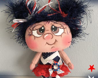"""OOAK Artist Miniature Cloth Pocket 4TH OF JULY Rag Doll """"Independence"""" only 5"""" high!"""