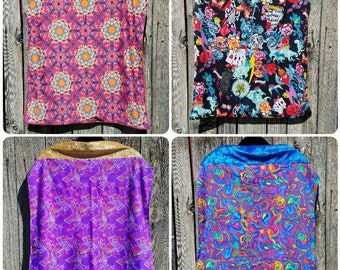 Printed Spandex Capes in a variety of Patterns and Bright Colors with Various Faux Velvet Lining