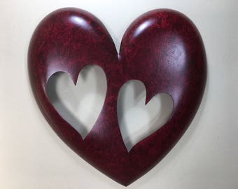 Personalized Red Wood Anniversary Gift Heart Wedding Present by Gary Burns