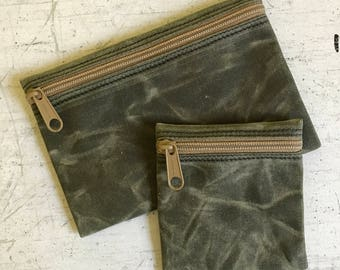 Waxed canvas zip bag,Makeup Bag, iPhone 7 bag, camping zip bag, small zip pouch,condom pouch,zip wallet,cord pouch,jewelry pouch,zip bag set
