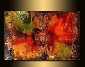 ORIGINAL Large Abstract Gold Olive Green, Red Painting Textured Modern Palette Knife Art by Henry Parsinia 36x24
