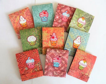 10 Handmade cupcake notepads, matchbook child's party favor, promotional item, mini stationary, cute thank you gift, cupcake face notebooks