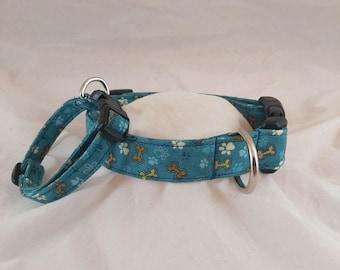 Teal Pet Bones Collar, Masculine Dog Collar, Dog Collar, Paw Print Collar, Collier de chien, collar de perro,