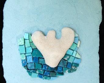 Tiny Coral on Aqua by Brenda Pokorny