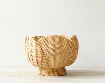 Vintage Basket, Basket Bowl, Decorative Basket