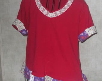 Wearble art tee eco upcycled with random patchwork ruffle at hem ace bow at neck large petite