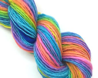 150 yards handspun rainbow yarn in merino wool  - 1.75 ounces, 51 grams