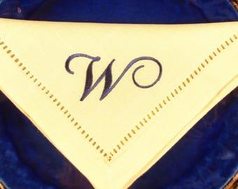 4 Yellow No Iron  White Linen Look  Monogrammed Hemstitched Napkins