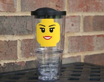 Personalized Girl Lego head 24 oz acrylic Insulated tumbler and straw with lego brick - Great birthday gift for the lego fan in your life