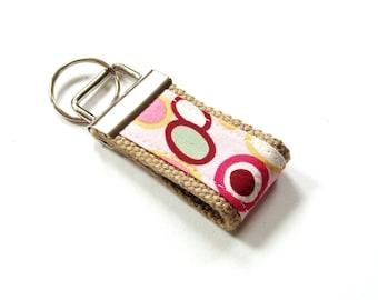 Mini finger fob, retro pink design, fabric key fob, finger key chain, key keeper, key holder, key finder, preppy key chain