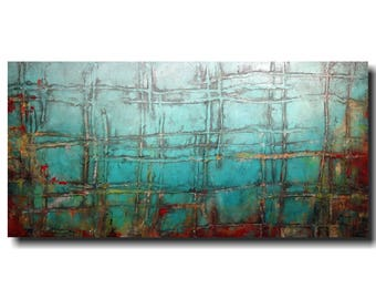 Art Original large abstract painting  jmjartstudio industrial artwork blue textured wall art personalized